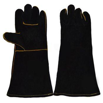 Краги спилковые пятипалые с подкладкой, черные, 41 см